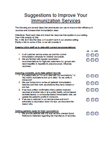 Suggestions to Improve Your Immunization Services (Checklist) PDF